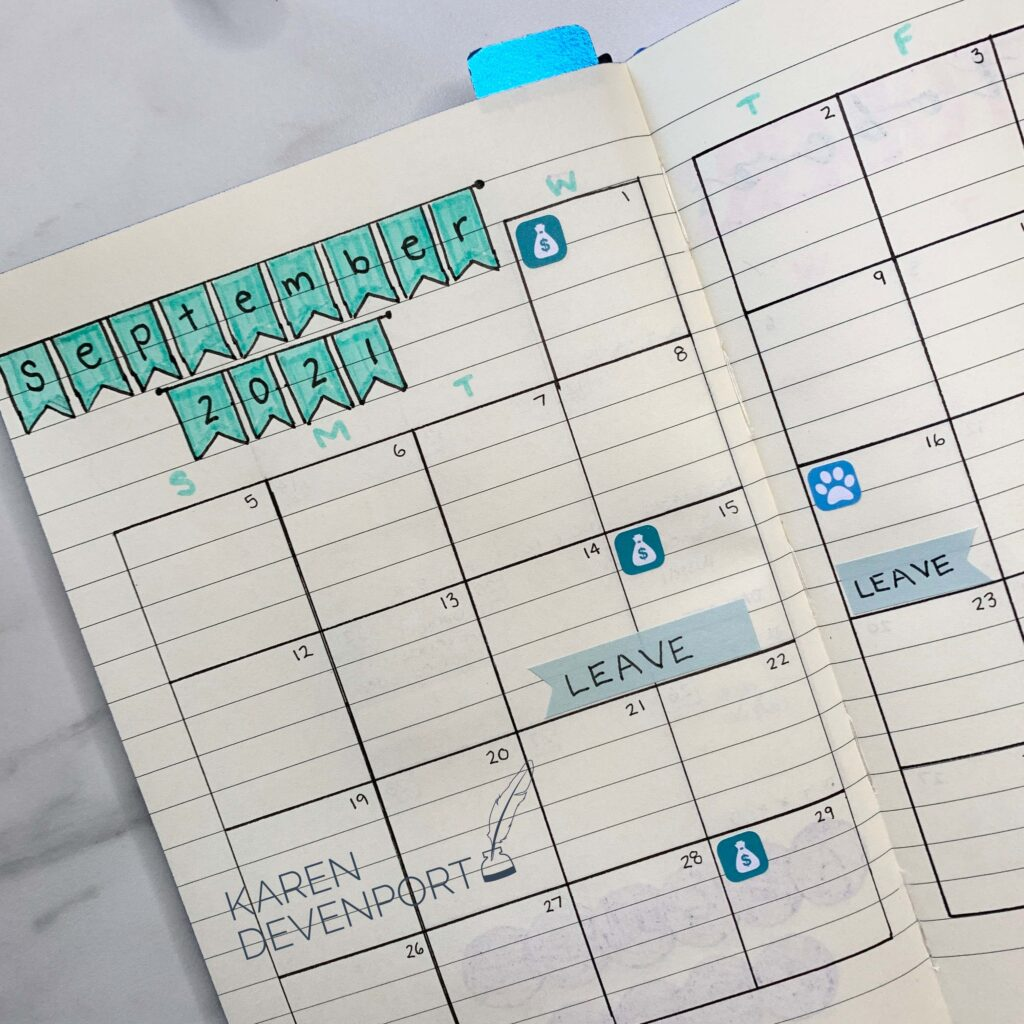 Image: a hand-drawn calendar page for September 2021, with several days marked as 'LEAVE' days.