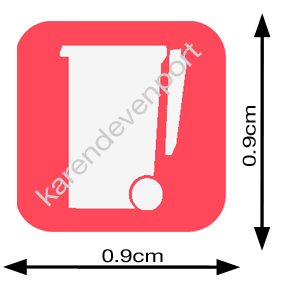 Wheelie rubbish bin icon sticker Red