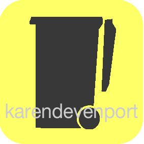 Wheelie rubbish bin icon sticker Yellow